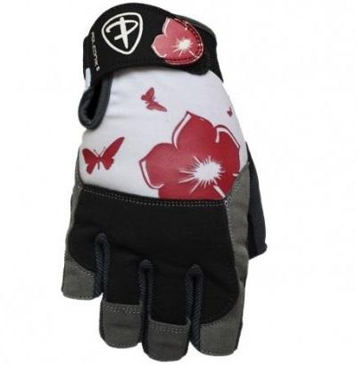 Dámské fitness rukavice Polednik Flower červené - XS