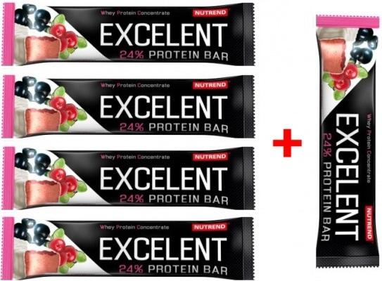 Nutrend Excelent Protein Bar 85 g 4+1 zdarma - černý rybíz-brusinka